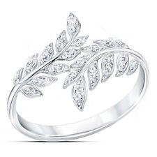 Elegant 925 Silver Feather Diamond Sapphire Ring Women Anniversary Gift Sz 5-11