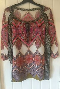 Ladies Top Size M By Monsoon Gorgeous Pink Hippy/Boho Eastern Design Tie Front