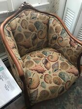 Antique Vintage Hand Carved Barrel Chair with Seashell Tapestry Upholstery