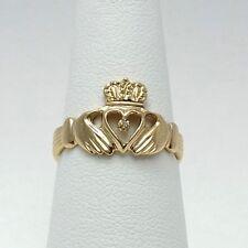 14K Gold Claddagh Celtic Irish Ring Diamond Accent Sz6
