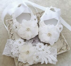 Baby Girl Off White Christening Shoes Baptism Shoes Lace Flower Headband Gift