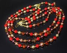 Necklace Hand Made Vintage Bead Three Strand Bronze Taupe Terra Cotta Amber 28