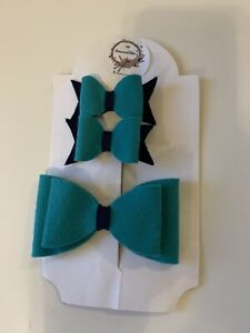 School Hair Bows Clips Handmade Green And Navy Blue New