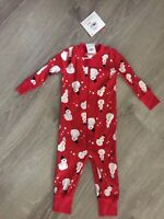 New Unisex Hanna Andersson PJs One-piece Snowman Red Zip 60cm US 3-6 Months