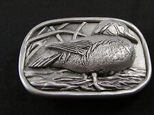 Duck In Grasslands Pewter Belt Buckle by KEV Made in USA 6514 Old New Stock
