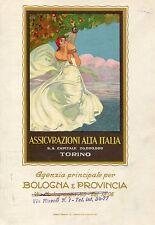 LOCANDINA,ANNI 20 VINTAGE,ASSICURAZIONI ALTA ITALIA TORINO AG.BOLOGNA CORBELLA