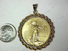 1993 $25 Gold American Eagle 1/2 oz Gold Coin Mounted in 14k Gold Rope Bezel