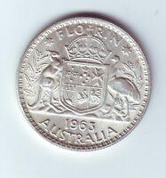 1963 Silver Florin Coin Australia  L-858