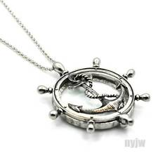 """New Silver Magnifying Glass Wheel with Anchor Pendant 31"""" Chain Necklace SJ011S"""