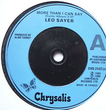 "LEO SAYER - More Than I Can Say - Excellent Con 7"" Single Chrysalis CHS 2442"