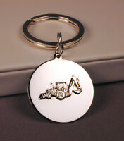 Sterling Silver Backhoe Charm on Key Ring Engravable FREE U.S. Shipping