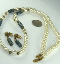 VINTAGE MIRIAM HASKELL DEMI PARURE SET NECKLACE EARRINGS ENAMEL & PEARLS