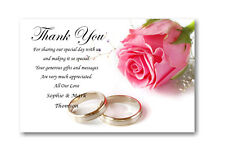 40 Personalised Wedding Day , Wedding Evening Thank You , Thankyou Cards Ref W6