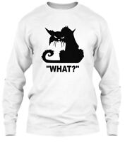 Funny Cat , Black - What? Gildan Long Sleeve Tee T-Shirt