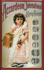 Blechschild Nostalgieschild Accordeon International Symphonion Akkordeon 20x30