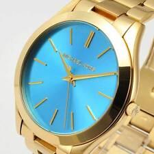 Michael Kors MK3265 Ladies Watch Slim Runway Gold-Tone Blue Dial MK3265