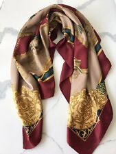 Vintage Equestrian Scarf Victorian Carriage Horse Riding Burgundy Gold