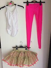 Handmade Girls Gold Pink Dance Costume 8-9-10yrs - leotard skirt leggings bowtie