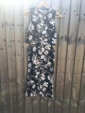 Scuba Bodycon High Neck Cut Out Waist Floral Black Midi Dress Size 10 BNWT