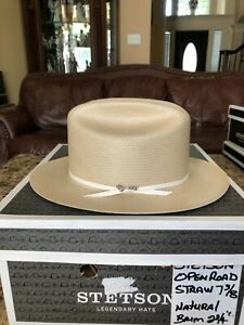 """STETSON """"OPEN ROAD"""" NATURAL 7 3/8 PANAMA WESTERN!"""