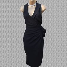 KAREN MILLEN Black Tuxedo Wrap Style Frill Cocktail Office Wiggle Dress UK 14 42