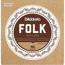 D'addario EJ32 Folk Black Nylon/Silver Ball End Strings
