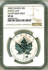 2004 $5 Canada Silver Maple Leaf Zodiac Series Sagittarius Privy Mark NGC SP66