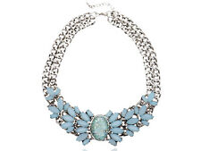 Retro 1960s Choker Blue Bead Pendant Silver Tone Metal Two Chain Link  Necklace