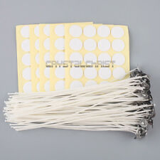 "100 x Candle Wicks 8"" COTTON Core Candle Making Supplies Pretabbed + Stickers"