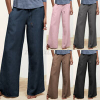 UK Women Casual Loose Chino Pants Ladies Plain Solid Long Wide Leg Trousers Plus