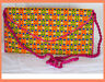 Embroidered Multi Color Silk Purse Shoulder Bag of Recycled Fabric from India!