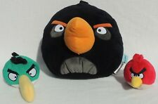 "3pc Set Angry Birds Large 16"" BOMB Red & HAL Plush Stuffed Animal Lot Item #3505"
