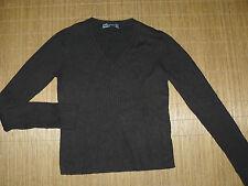 ZARA dunkelbrauner Stretch Strick Pullover Damen 38 40 Langarm V-Ausschnitt #80