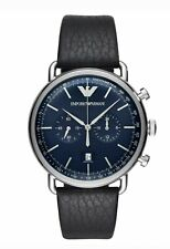 NEW Emporio Armani AR11105  Men's Blue Dial Leather Band Quartz Watch
