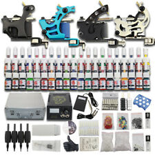 Complete Tattoo Machine Kit 4 Guns 40 Inks Set Grips Power Supply 50 Needles Cup