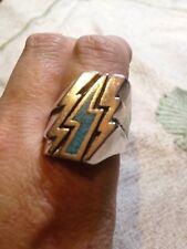 1980's Vintage Silver Southwestern Turquoise Inlay Lightning Bolt Biker 13 Ring