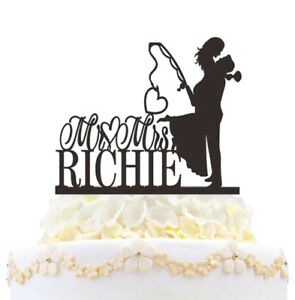 Personalized Fishing Wedding Cake Topper Mr & Mrs Heart Love Bride And Groom