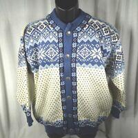 Nordstrikk Mens Cardigan Sweater Sz M Nordic Fair Isle Blue Wool Button Trim
