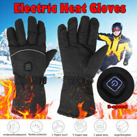 Electric Battery Heated Touchscreen Warm Finger Gloves Motorcycle Cycling Winter