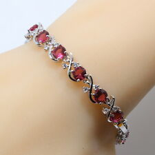 "Sterling Silver Red Beryl Pink Quartz Topaz Tennis Bracelet Curved cross 7"" Rose"