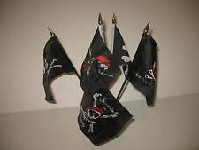 "Jolly Roger Pirate 5 Flag Set 5 Flags 4""x6"" Desk Set Table Stick Gold Base"
