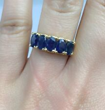 14k Solid Yellow Gold One Rows Band Ring Natural Sapphire, Sz 7.5. 3.90 Grams