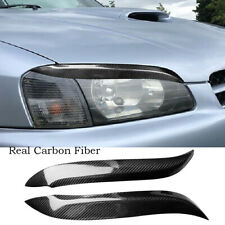 2*Carbon Fiber Headlight Eyebrow Cover For Toyota Starlet Glanza EP91 1996-1999
