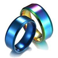 8mm Blue/Gold/Rose Gold/Silver/Black Stainless Steel Ring Men/Women's Band Rings