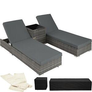 2x Chaise longue bain de soleil + table ALU résine tressée transat jardin gris