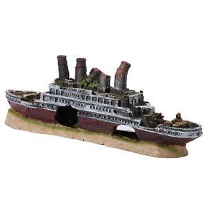 Aquarium Shipwreck Decoration Fish Tank Resin Material Ornaments Titanic Lost