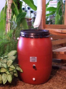 50 Gallon Terra Cotta Snap on Lid Rain Barrel-FREE SHIPPING