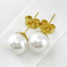 Ohrstecker 8mm Muschelkernperlen Rund Weiß Perlen Ohrringe Edelstahl Vergoldet