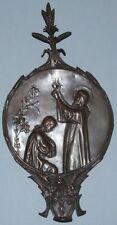 Plaque de balancier d'horloge cuivre Signé F. Lasserre Art nouveau Jesus