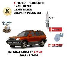 FOR HYUNDAI SANTA FE 2.7 V6 2001-5/2006 NEW OIL AIR FILTER KIT + SPARK PLUGS SET
